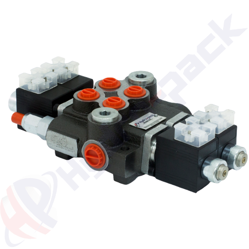 """50 liter solenoid operated control valve, 2Z50 , two spools , G 3/8"""" , open center spool , 24 V"""