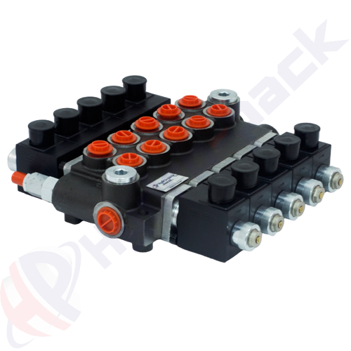 """50 liter solenoid operated control valve, 5Z50 , five spools , G 3/8"""" , open center spool , 24 V"""