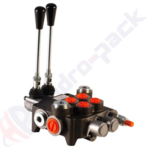 "80 liter monoblock control valve, 2P80 , two spools , G 1/2"" , open center spool"