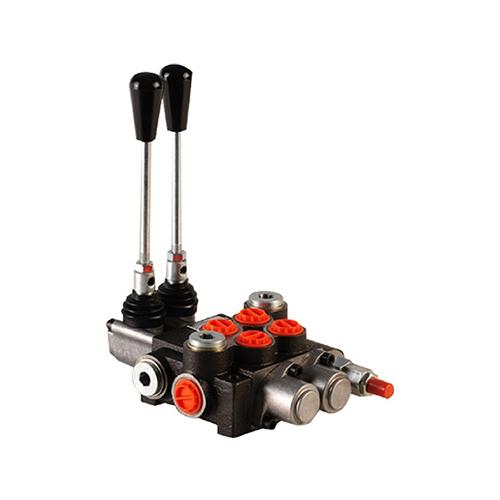 "40 liter monoblock control valve, 2P40 , two spools , G 3/8"" , open center spool"