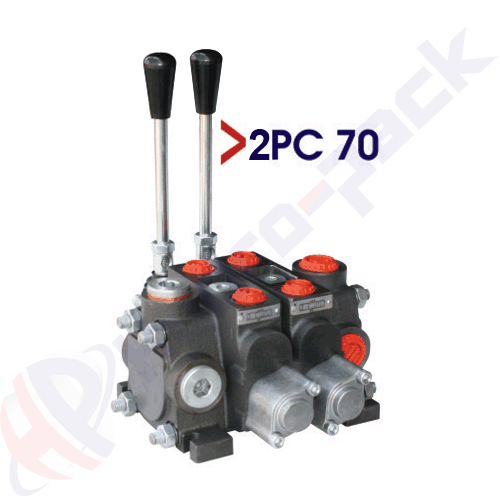 """70 liter sectional control valve, 2PC70 , two spools , G 1/2"""" , open center spool"""