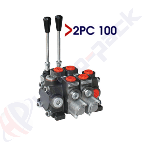 """100 liter sectional control valve, 2PC100 , two spools , G 3/4"""" , open center spool"""