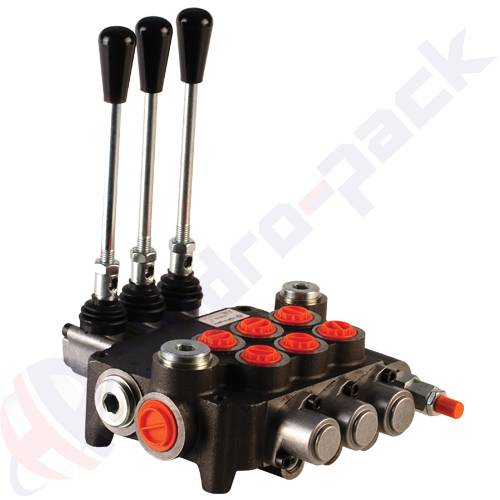 "80 liter monoblock control valve, 3P80 , three spools , G 1/2"" , open center spool"