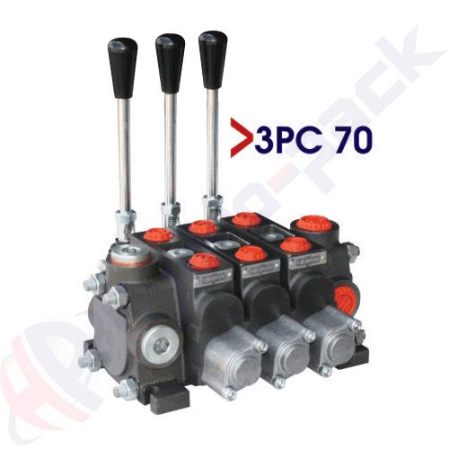 "70 liter sectional control valve, 3PC70 , three spools , G 1/2"" , open center spool"