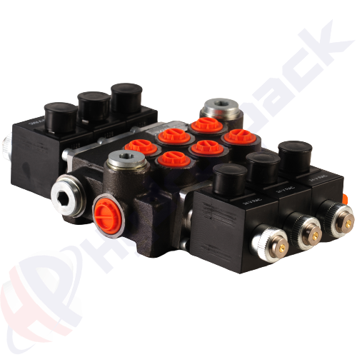 """50 liter solenoid operated control valve, 3Z50 , three spools , G 3/8"""" , open center spool , 24 V"""