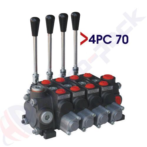 "70 liter sectional control valve, 4PC70 , four spools , G 1/2"" , open center spool"