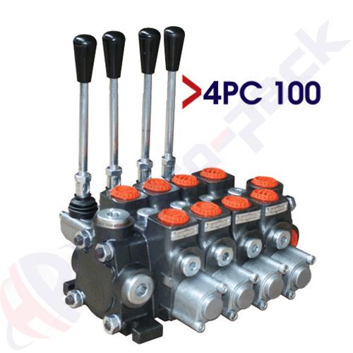 "100 liter sectional control valve, 4PC100 , four spools , G 3/4"" , open center spool"