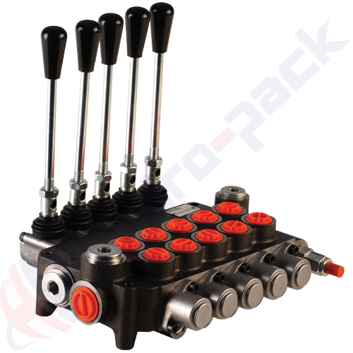 "80 liter monoblock control valve, 5P80 , five spools , G 1/2"" , open center spool"