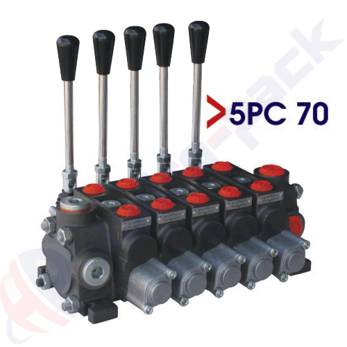 "70 liter sectional control valve, 5PC70 , five spools , G 1/2"" , open center spool"