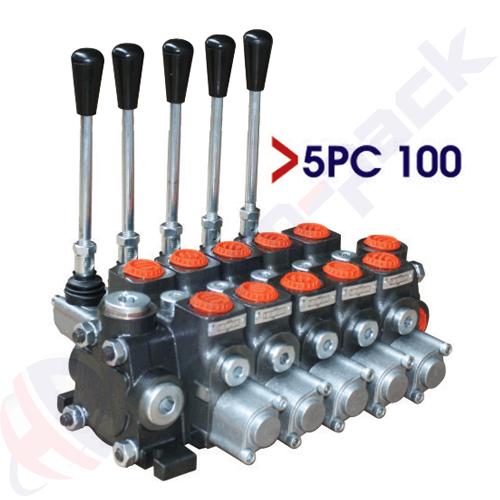 "100 liter sectional control valve, 5PC100 , five spools , G 3/4"" , open center spool"
