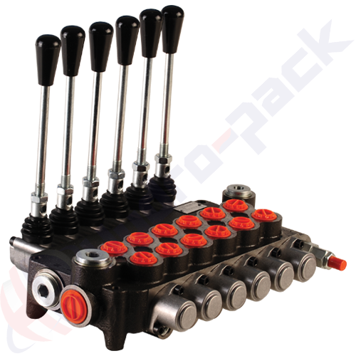 "80 liter monoblock control valve, 6P80 , six spools , G 1/2"" , open center spool"