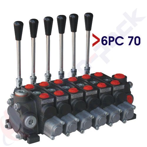 "70 liter sectional control valve, 6PC70 , six spools , G 1/2"" , open center spool"