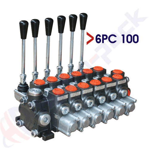 """100 liter sectional control valve, 6PC100 , six spools , G 3/4"""" , open center spool"""