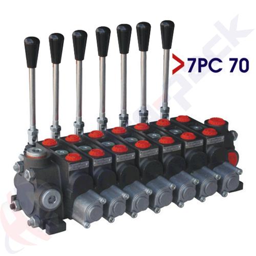 "70 liter sectional control valve, 7PC70 , seven spools , G 1/2"" , open center spool"