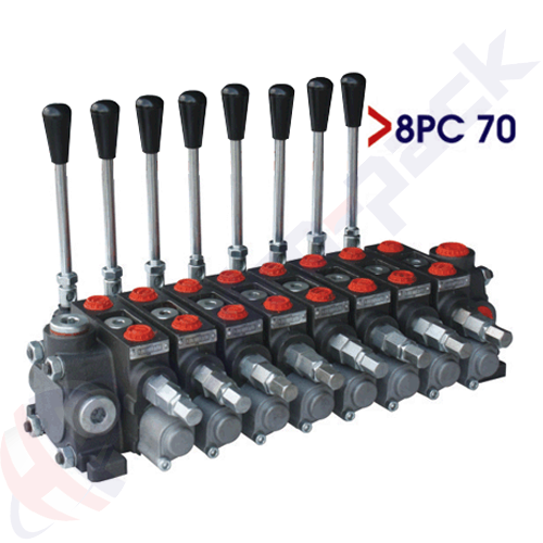 """70 liter sectional control valve, 8PC70 , eight spools , G 1/2"""" , open center spool"""