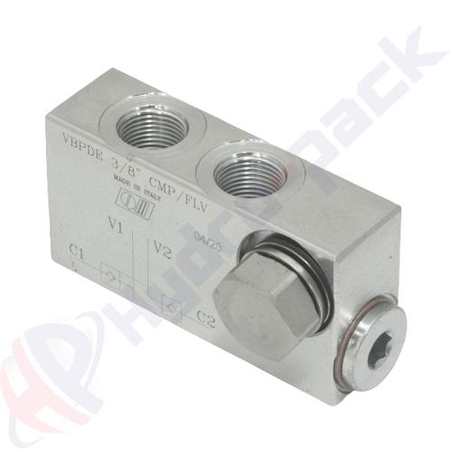 "Double pilot operated check valve, VBPDE L CMP FLV , 20 L/min, G 3/8"""