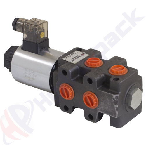 "6/2 solenoid operated valve, DVS6 , one spool , G 1/2"" , open center spool , 12 V"