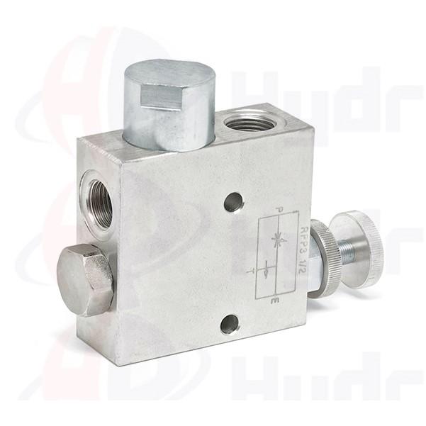"3 way flow control valve, RFP3 VU , 60 L/min, G 3/8"""
