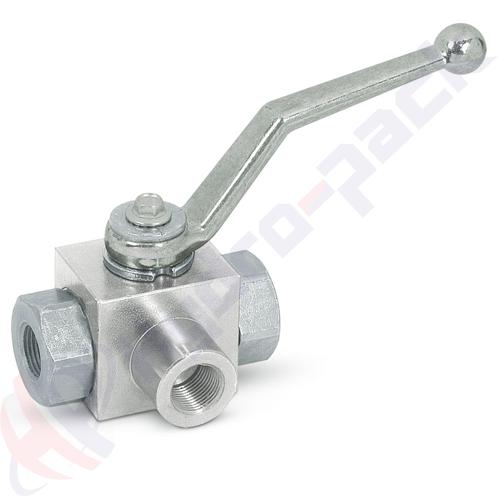 "3 way hydraulic ball valve, RS 3 , 60 L/min, G 1/2"""